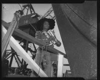 Marian Anderson christens the liberty ship Booker T. Washington