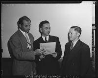 A.L. Wirin, George Ochikubo, and Saburo Kido representing the Japanese American Citizens League