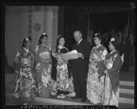 Mayor Fletcher Bowron at a Nisei festival in Little Tokyo, Los Angeles, 1940