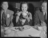 Nisei festival queen dines in Little Tokyo, Los Angeles, 1940