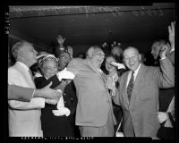 Governor Goodwin Jess Knight celebrating gubernatorial reelection win in California, 1954