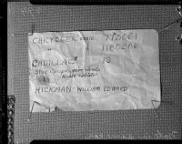 Evidence in the trial of William Edward Hickman for the kidnapping and murder of Marion Parker, 1928.