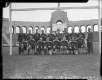UCLA rugby team photo at the Los Angeles Memorial Coliseum, Los Angeles, 1935