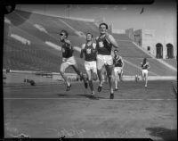 USC and Berkeley track members race at Memorial Coliseum, Los Angeles, 1935